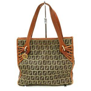 Auth Fendi Brown Canvas Hand Bag #3376F84